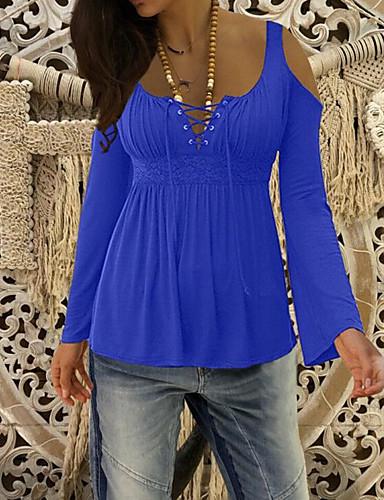 billige Dametopper-Med stropper Store størrelser T-skjorte Dame - Ensfarget, Utskjæring / Blondér Grunnleggende Blå