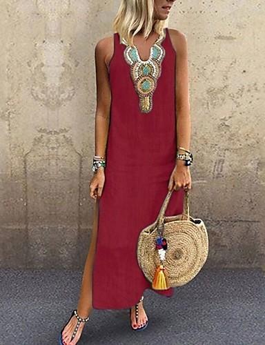 hesapli Maksi Elbiseler-Kadın's Büyük Bedenler Boho Zarif İnce Kombinezon Elbise - Solid Kabile, Bölünmüş Kırk Yama V Yaka Maksi