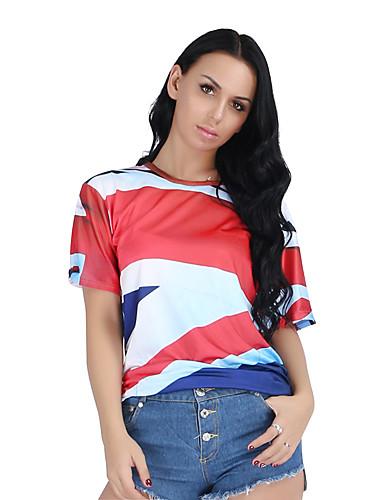 billige Dametopper-T-skjorte Dame - 3D Grunnleggende Rød US10 / UK14 / EU42