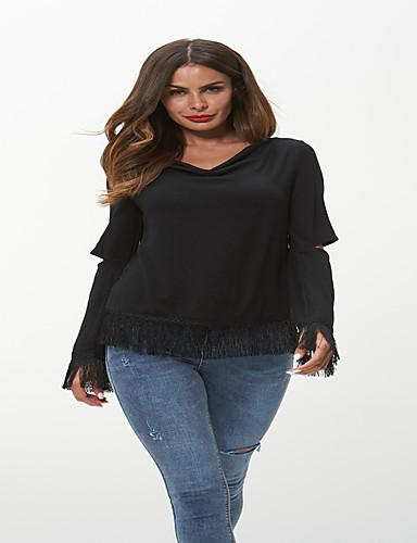billige Topper til damer-Løstsittende V-hals T-skjorte Dame - Ensfarget, Dusk Chinoiserie / Elegant Svart Svart