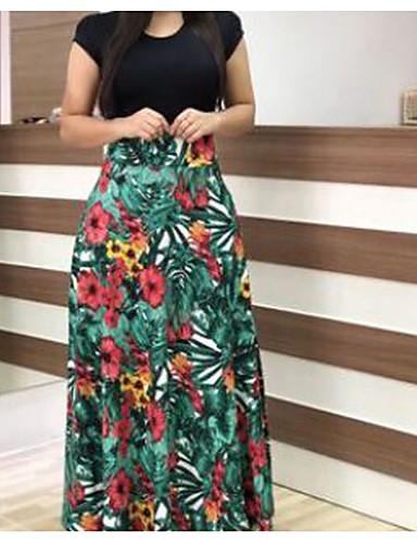voordelige Maxi-jurken-Dames Standaard Wijd uitlopend Jurk - Geometrisch, Patchwork  Maxi