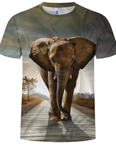 voordelige Heren T-shirts & tanktops-Heren Print EU / VS maat - T-shirt Kleurenblok / 3D / dier Ronde hals Grijs / Korte mouw