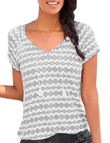 abordables Hauts pour Femme-Tee-shirt Femme, Géométrique Lacet / Imprimé Basique Bleu