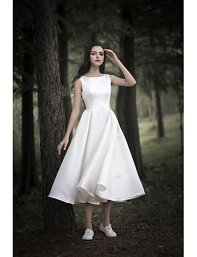 abordables robe mariage civil-Trapèze Bijoux Longueur Genou Mousseline sur Satin Robes de mariée sur mesure avec par LAN TING Express