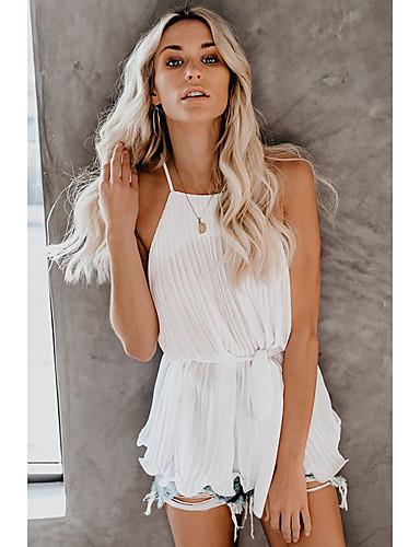 ราคาถูก เสื้อผู้หญิง-สำหรับผู้หญิง เสื้อกล้าม พื้นฐาน สาย สีพื้น ขาว
