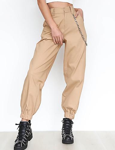 abordables Pantalons Femme-Femme Basique Sarouel Pantalon - Couleur Pleine Kaki M L XL