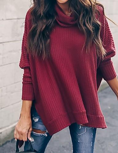povoljno Ženske majice-Žene Jednobojni Dugih rukava Širok kroj Pullover, Dolčevita Crn / Lila-roza / Vojska Green S / M / L