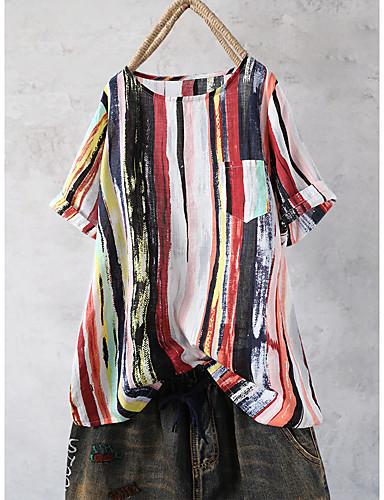 billige Dametopper-Bomull Løstsittende Skjorte Dame - Ensfarget, Trykt mønster Bohem / Chinoiserie Strand Blå