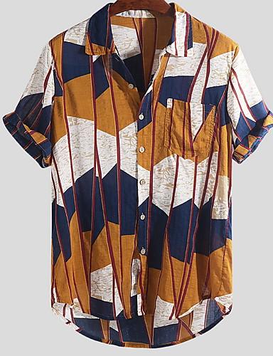 voordelige Herenoverhemden-Heren Rock Patchwork EU / VS maat - Overhemd Regenboog Buttondown boord Geel / Korte mouw