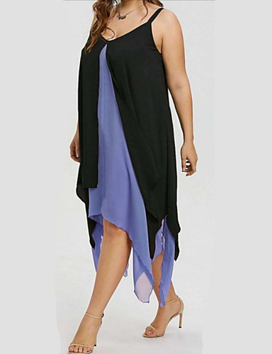 voordelige Grote maten jurken-Dames A-lijn Jurk - Kleurenblok Asymmetrisch