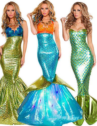 halpa Uinti-cosplay-Merenneito Aqua Queen Aqua Princess Cosplay-Asut Juhla-asu Aikuisten Naisten Joulu Halloween Karnevaali Festivaali / loma Teryleeni Vihreä / Kultainen / Telkkä Naisten Karnevaalipuvut Vintage