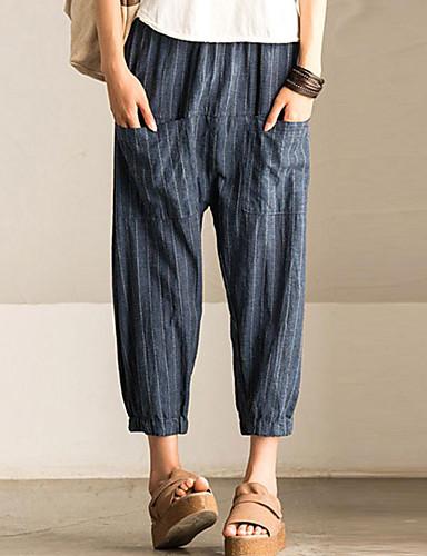 abordables Pantalons Femme-Femme Basique Ample Sarouel Pantalon - Ecossais / à Carreaux Bleu S M L