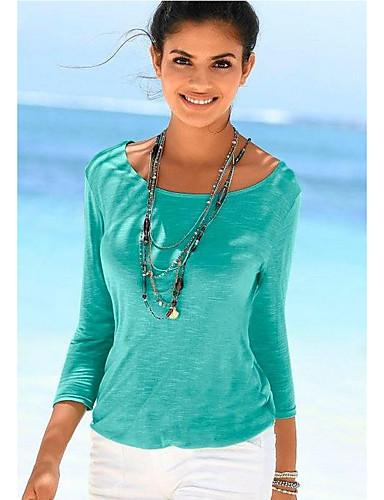 abordables Hauts pour Femmes-Tee-shirt Femme, Couleur Pleine Dentelle Bohème Ample Vert