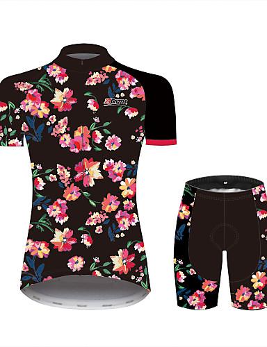 ieftine Ciclism-21Grams Pentru femei Manșon scurt Jerseu Cycling cu Pantaloni Scurți Negru Floral / Botanic Bicicletă Costume Respirabil Confortabil la umezeală Uscare rapidă Sport 100% Poliester Ciclism montan