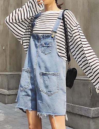 abordables Pantalons Femme-Femme Basique Ample Ample / Chino Pantalon - Couleur Pleine Taille haute Bleu Bleu clair L XL XXL