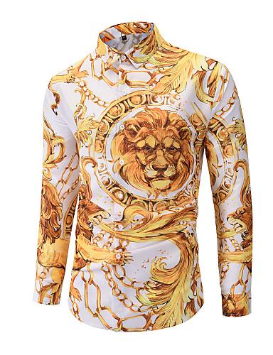 Erkek Klasik Yaka Gömlek Kırk Yama / Desen, Zıt Renkli / Grafik / Hayvan Temel AB / ABD Beden Aslan Sarı / Uzun Kollu