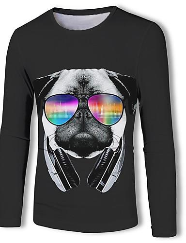 hesapli Erkek Tişörtleri ve Atletleri-Erkek Yuvarlak Yaka Tişört Desen, Zıt Renkli / 3D / Hayvan Temel / Askeri AB / ABD Beden Köpek Siyah / Uzun Kollu