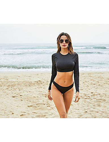 voordelige Nieuwe collectie-Dames Standaard Zwart Driehoek Bikini Zwemkleding - Effen S M L Zwart