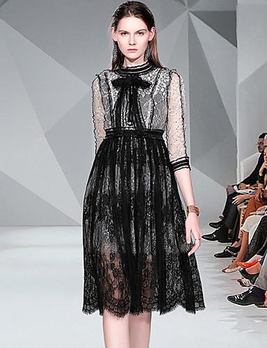 Kadın's Temel Çin Stili A Şekilli Çan Elbise - Solid Zıt Renkli, Dantel Kırk Yama Desen Diz-boyu