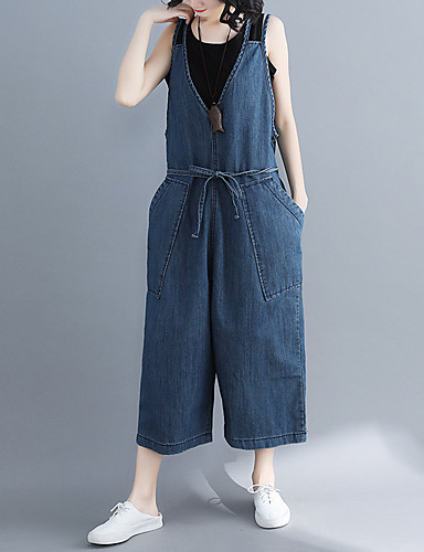Kadın's Temel Geniş Bacak / Chinos Pantolon - Solid Açık Mavi Havuz M L XL