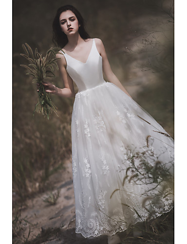 abordables Vestidos de Novia-Corte en A Escote en Pico Hasta el Suelo Encaje / Tul / Raso sobre satén Vestidos de novia hechos a medida con por LAN TING Express