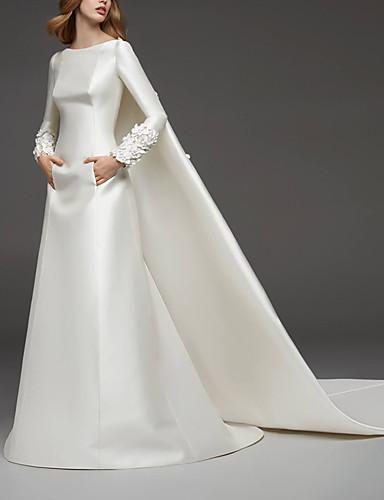 abordables robe mariage civil-Trapèze Bijoux Traîne Watteau Satin Robes de mariée sur mesure avec Appliques par LAN TING Express