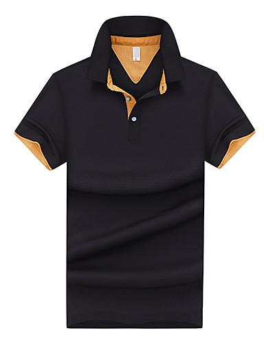 voordelige Herenpolo's-Heren EU / VS maat - Polo Kleurenblok Overhemdkraag Zwart / Korte mouw