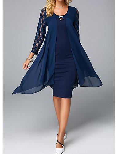 abordables Vestidos de Mujer-Mujer Elegante Vaina Vestido - Encaje, Un Color Hasta la Rodilla