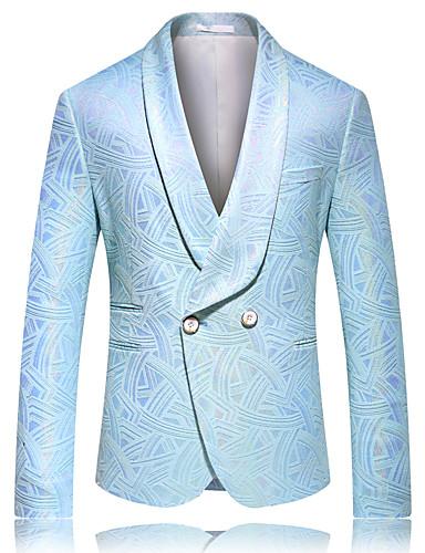 cheap 7/17-Men's Blazer, Solid Colored Peaked Lapel / Shawl Lapel Rayon / Polyester Blue US40 / UK40 / EU48 / US42 / UK42 / EU50 / US44 / UK44 / EU52