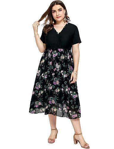 voordelige Grote maten jurken-Dames Elegant A-lijn Jurk - Geometrisch, Patchwork Midi