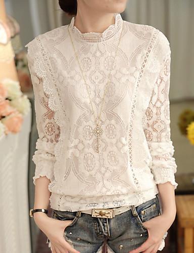 Kadın's İnce - Gömlek Desen, Solid Beyaz