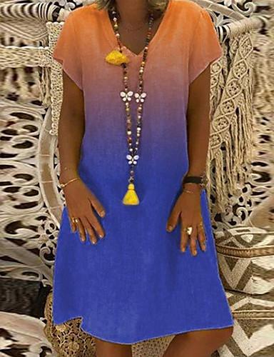 Kadın's Vintage Temel Kombinezon Elbise - Zıt Renkli Diz-boyu