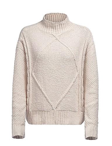 billige Dametopper-Dame Ensfarget Langermet Pullover, Rullekrage Høst / Vinter Beige S / M