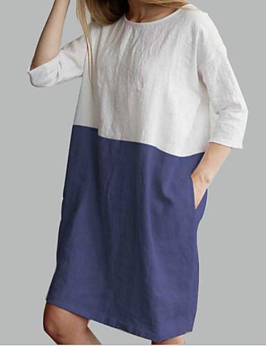 Kadın's Temel Kombinezon Elbise - Zıt Renkli Diz-boyu