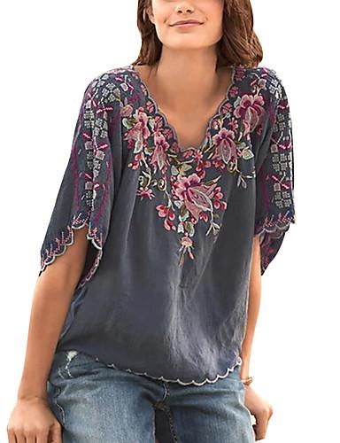 abordables Hauts pour Femme-Tee-shirt Femme, Bloc de Couleur / Tribal Brodée Basique Violet