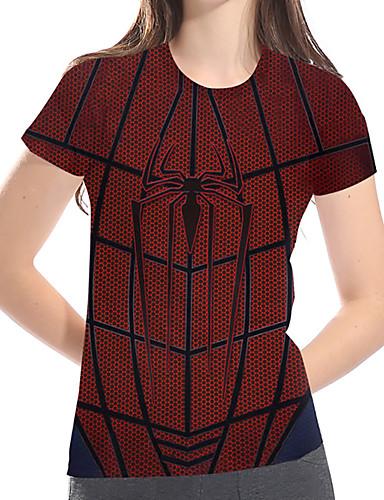 billige Topper til damer-T-skjorte Dame - 3D / Grafisk / Dyr, Trykt mønster Grunnleggende / overdrevet Vin US14 / UK18 / EU46