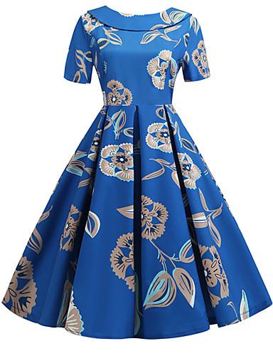 abordables Robes Femme-Femme Rétro Vintage Basique Mi-long Balançoire Robe - Noeud Mosaïque Imprimé, Fleur Géométrique Tribal Bleu L XL XXL Manches Courtes