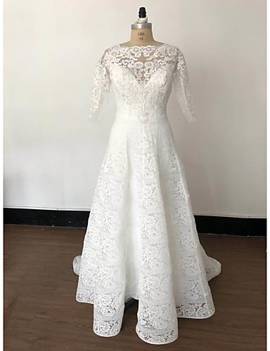 abordables robe mariage civil-Trapèze Bateau Neck Traîne Tribunal / Long Dentelle Robes de mariée sur mesure avec Dentelle par LAN TING Express