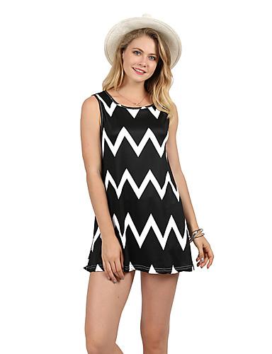 billige Dametopper-Bomull T-skjorte Dame - Geometrisk / Fargeblokk Grunnleggende Strand Svart