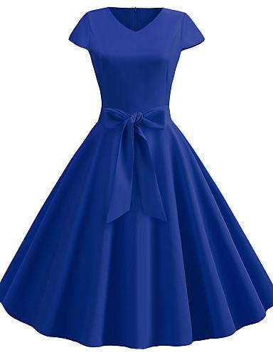 abordables Robes Femme-Femme Rétro Vintage Chic de Rue Midi Balançoire Robe - Mosaïque, Couleur Pleine Vin Bleu clair Bleu royal L XL XXL Manches Courtes
