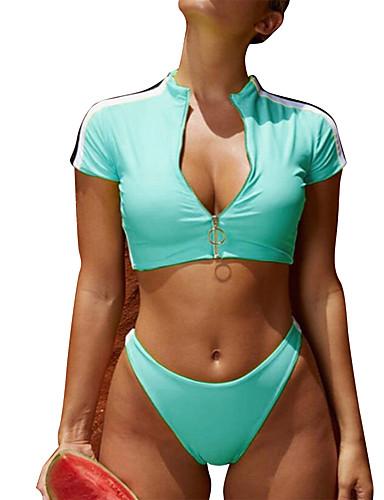 voordelige Nieuwe collectie-Dames Zwart Blozend Roze blauw Tankini Zwemkleding - Effen S M L Zwart