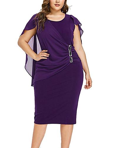 hesapli Kadın Elbiseleri-Kadın's sofistike Zarif Kılıf Elbise - Solid, Büzgülü Kırk Yama Diz-boyu