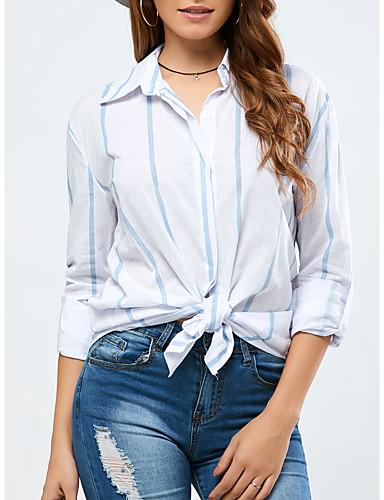 Kadın's Pamuklu Gömlek Yaka Salaş - Gömlek Çizgili Temel Mavi & Beyaz Beyaz