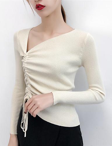 abordables Hauts pour Femmes-Femme Couleur Pleine Manches Longues Pullover, Col Asymétrique Automne Noir / Violet / Jaune Taille unique