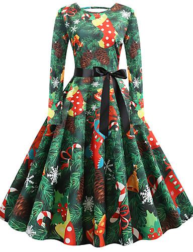 billige Kjoler-Dame Vintage Elegant A-linje Kjole - Blomstret Abstrakt, Sløyfe Trykt mønster Midi julenissen