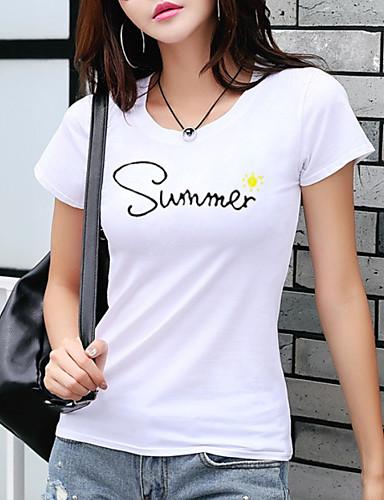 Kadın's Tişört Desen, Harf Temel Beyaz