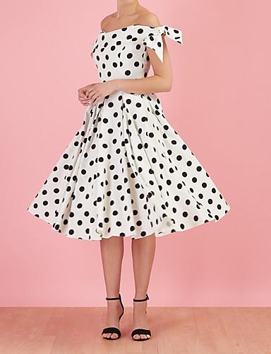 저렴한 여성용 의류-여성용 우아함 A 라인 드레스 - 도트무늬 무릎길이