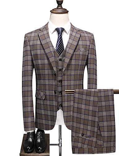 Haki Damalı Standart Kalıp Polyester Takım elbise - Çentik Tek Sıra Düğmeli İki Düğme