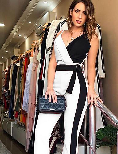 ราคาถูก ชุดและเสื้อสำหรับสุภาพสตรี-สำหรับผู้หญิง คอวีลึก สีดำ สีแดงชมพู สีเทา ฮาเร็ม Romper, สีพื้น M L XL
