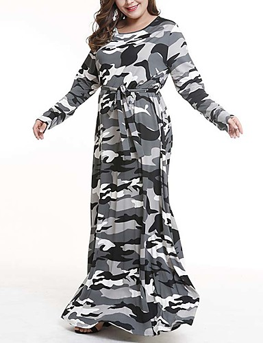 voordelige Grote maten jurken-Dames Standaard Schede Jurk - Camouflage Kleur Maxi